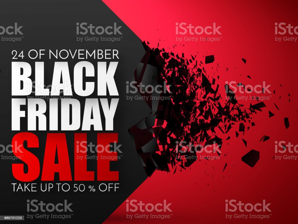 Black Friday Sale Abstract Background. Vector Banner with explosion effect vector art illustration