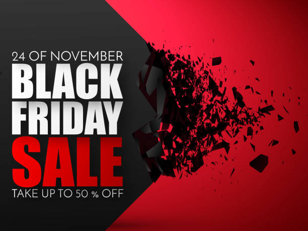 Black Friday Sale Abstract Background. Vector Banner with explosion effect Black Friday Sale Abstract Background. Vector Banner with explosion 3d effect. black friday sale background stock illustrations