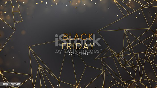 Black friday, sale abstract dark background with glowing lights and polygonal contours, can be used for banner, advertising billboard and web header