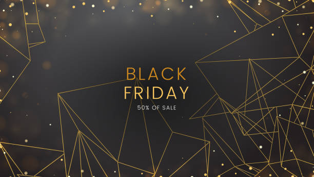 Black friday, sale abstract dark background with glowing lights and polygonal contours, can be used for banner, advertising billboard and web header vector art illustration