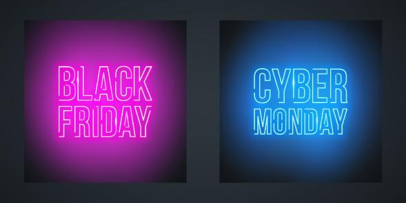Vetores de Black Friday Venda E Cyber Monday Venda Neon Promocionais Sinais Para Promoção De Venda e mais imagens de Atividade comercial