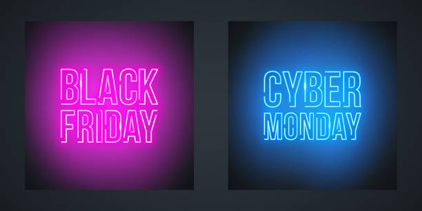 Black Friday Sale and Cyber Monday Sale neon promotional signs for sale promotion. Black Friday Sale and Cyber Monday Sale neon promotional signs for sale promotion. Vector illustration. black friday sale stock illustrations
