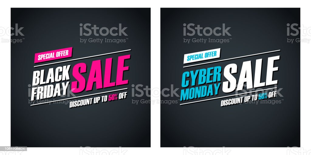 Black Friday Sale and Cyber Monday Sale special offer promotional cards for business, promotion and advertising. Discount up to 50% off. - Векторная графика Black Friday роялти-фри