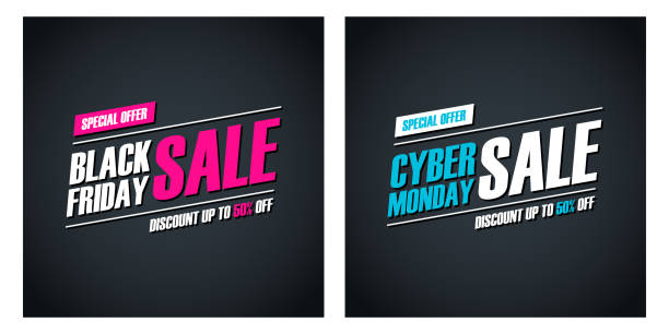 black friday sale and cyber monday sale special offer promotional cards for business, promotion and advertising. discount up to 50% off. - cyber monday stock illustrations