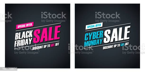 Black Friday Sale And Cyber Monday Sale Special Offer Promotional Cards For Business Promotion And Advertising Discount Up To 50 Off — стоковая векторная графика и другие изображения на тему Black Friday