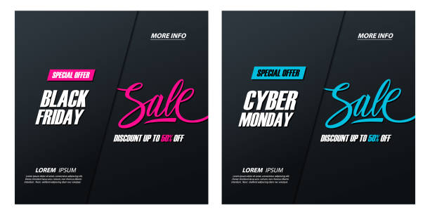 black friday sale and cyber monday sale special offer promotional cards with hand lettering, discount up to 50% off, for business, promotion and advertising. - cyber monday stock illustrations