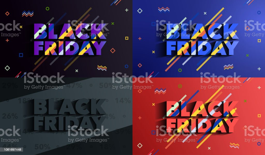 Black Friday. Sale and discounts banners. Background with colored lines. A set of banners templates in flat trendy memphis geometric style. An inscription with a long shadow. Vector illustration. Black Color stock vector