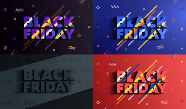 Black Friday. Sale and discounts banners. Background with colored lines. A set of banners templates in flat trendy memphis geometric style. An inscription with a long shadow. Vector illustration. black friday sale stock illustrations