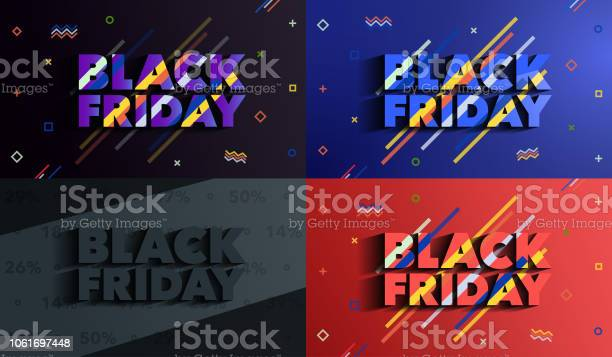 Black Friday Sale And Discounts Banners Background With Colored Lines Stock Illustration - Download Image Now