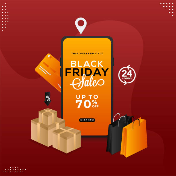 Black Friday Sale App in Smartphone with 70% Discount Offer, Shopping Bags, Realistic Gift Boxes and Payment Cards on Maroon Background. vector art illustration