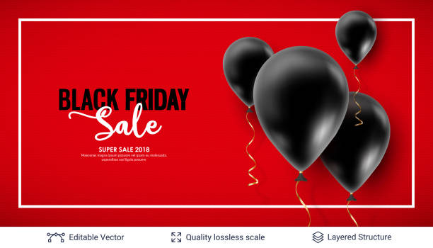 black friday sale backgrond. air balloons and text - black friday stock illustrations