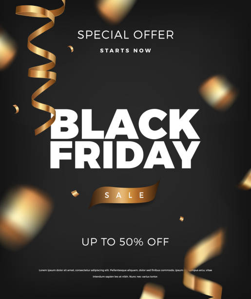 Black Friday sale background, vector design elements with golden cerpentine Black Friday sale poster vertical background with golden cerpentine vector promo design elements. Web banner layout template black friday sale background stock illustrations