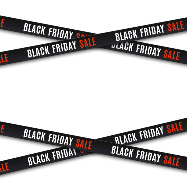 Black friday sale background. Black friday sale banners. Warning tapes, ribbons on white background. Template for brochure, poster or flyer Vector illustration. black friday stock illustrations