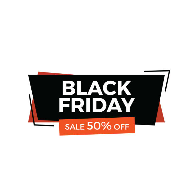 Black Friday Sale Banner. 70% Off Sale and discount banner isolated on white background black friday sale stock illustrations