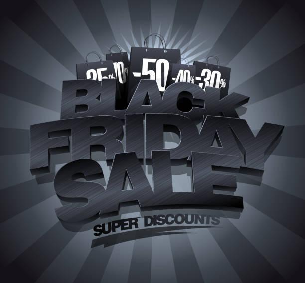 ilustrações, clipart, desenhos animados e ícones de conceito de banner de venda sexta-feira, ilustração vetorial de preto - black friday