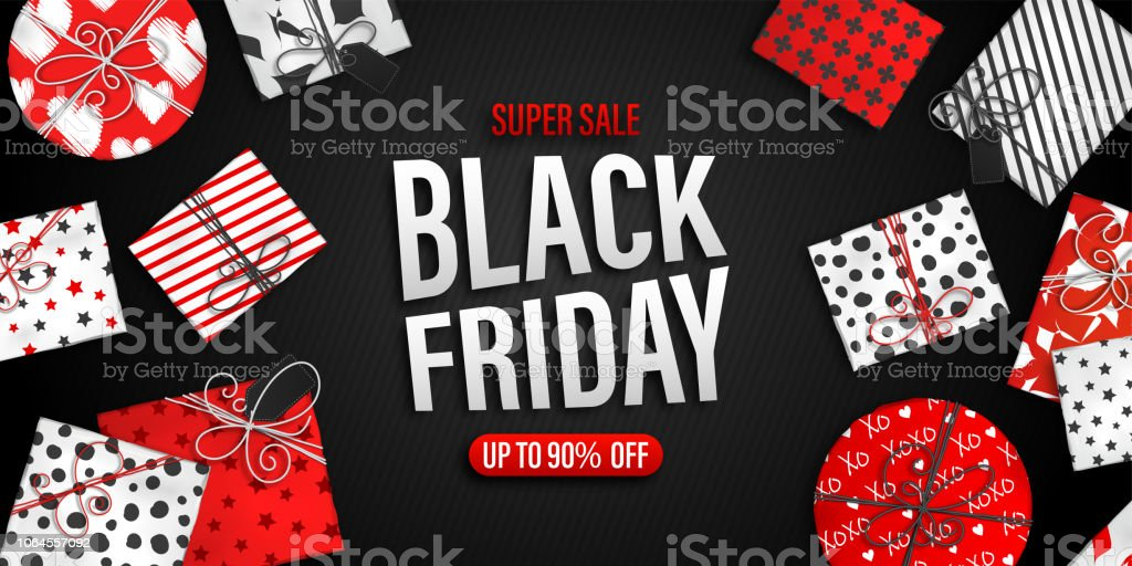 Black Friday Sale banner. Cool seasonal discount poster with red and white gift boxes on black background. - Royalty-free Beleza arte vetorial