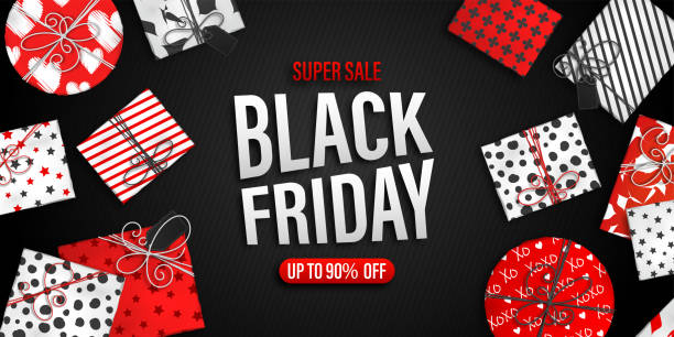 Black Friday Sale banner. Cool seasonal discount poster with red and white gift boxes on black background. Holiday design template for advertising shopping, closeout on thanksgiving day. black friday sale stock illustrations