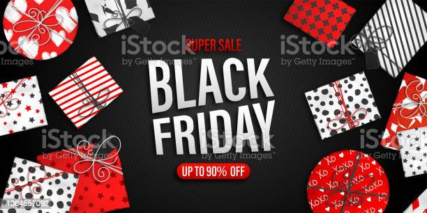 Black Friday Sale Banner Cool Seasonal Discount Poster With Red And White Gift Boxes On Black Background - Arte vetorial de stock e mais imagens de Beleza