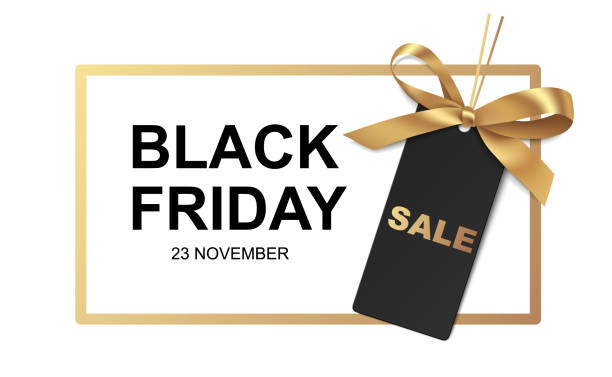 Black friday Sale banner design. Golden frame with price tag and gold bow on white background Vector illustration. black friday sale stock illustrations