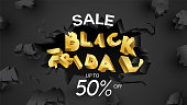 Black friday sale banner layout design background black and gold 50% discount offer. For art template design, brochure style, banner, idea, cover, print, flyer, card, ad, sign, poster, badge.