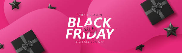 Black friday sale banner layout design template graphic abstract pink background. Vector illustration vector art illustration