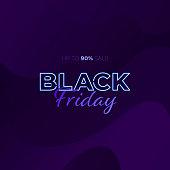 Vector elegant neon light black friday square banner template. Light blue text on dark modern wavy liquid background. Design element for poster, ad, sale, greeting card, voucher