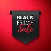 Black friday sale banner. Offer tag. Vector label
