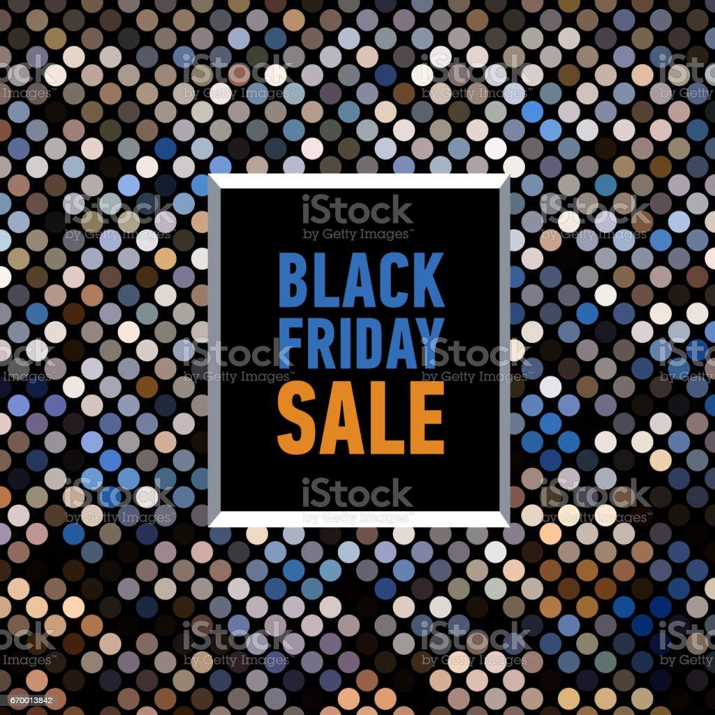 Black friday sale banner on mosaic background. Trendy sale poster vector art illustration