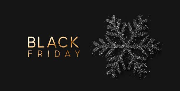 ilustrações, clipart, desenhos animados e ícones de venda black friday. bandeira, poster, cor dourada do logotipo no fundo escuro - black friday