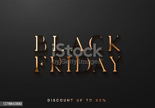 istock Black Friday Sale. Banner, poster, logo golden color on dark background. 1278642930