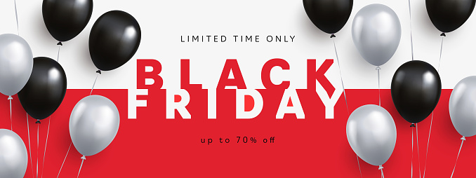 Black Friday Sale banner, poster or flyer design with 3d realistic helium balloons. Trendy minimal design template with modern typography