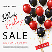 Black Friday Sale banner, poster or flyer design with black and red helium balloons on white background. Trendy modern design template for advertisement, social and fashion ads. Vector illustration