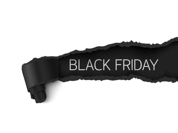 black friday sale banner realistic torn paper design - black friday stock illustrations