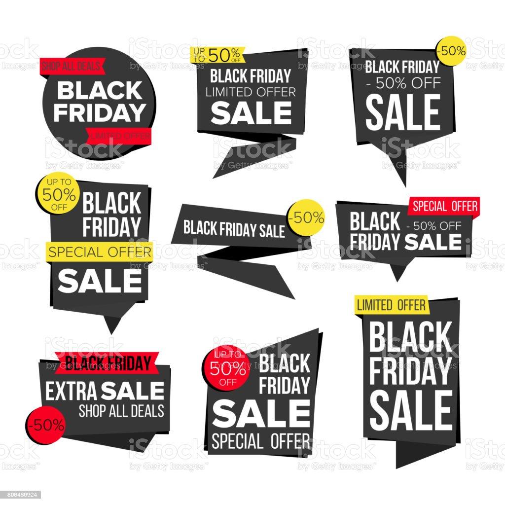 Black friday vente bannière set vector site web stickers black web page design