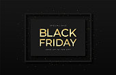 Black Friday sale banner. Shiny golden text in frame with glitter and confetti. Luxury dark background. Black Friday promotion and advertising, special offer and sale. Banner and poster, brochure and flyer design concept. Vector