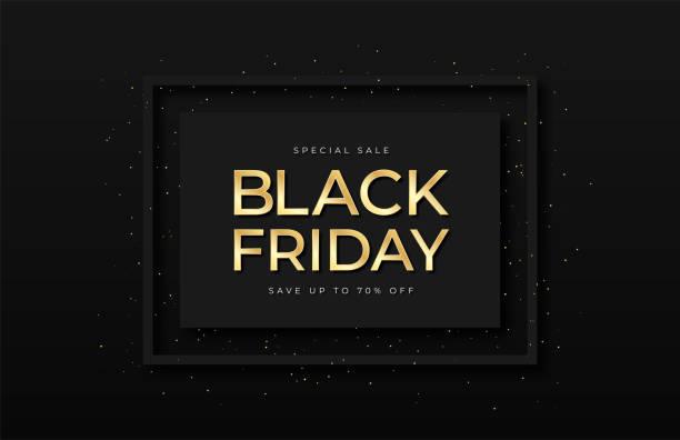 블랙 프라이데이 세일 배너. 반짝이와 색종이 프레임에 빛나는 황금 텍스트. 럭셔리 어두운 배경입니다. 블랙 프라이데이 프로모션 및 광고, 특별 행사 및 판매. 배너 및 포스터, 브로셔 및 전단� - black friday stock illustrations