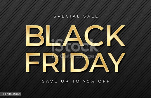 Black Friday sale banner. Shiny golden text on dark and luxury background. Black Friday promotion and advertising, special offer and sale. Banner and poster, brochure and flyer design concept. Vector