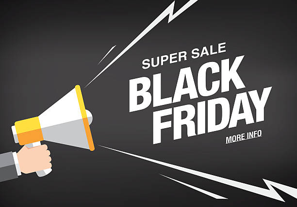 Black friday sale banner template design Hand holding megaphone commercial event stock illustrations