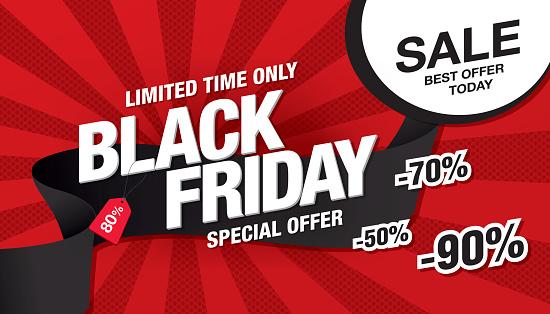 Black friday sale banner template design