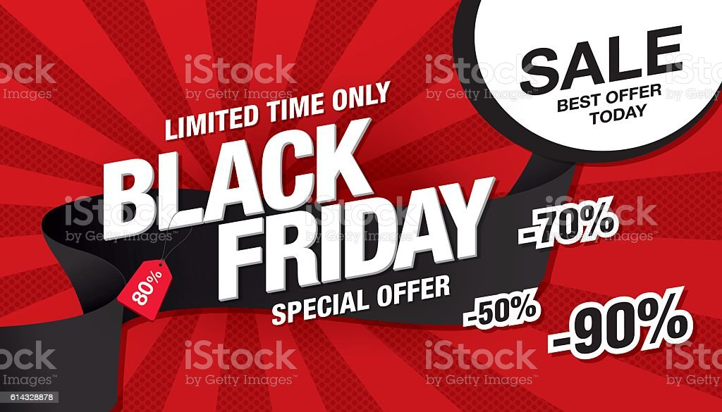 Black friday sale banner template design vector art illustration
