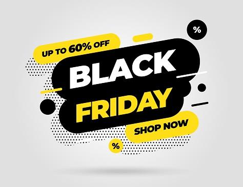 Black Friday sale banner template design. Vector illustration.