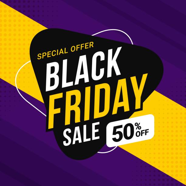 black friday sale banner template for business promotion - black friday stock illustrations