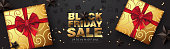 Black friday sale banner template with Christmas decorative elements present box.background. Vector illustration