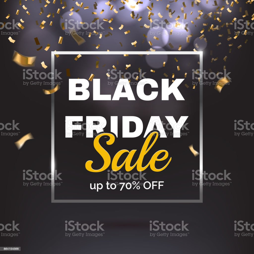 Black friday sale banner. Text with silver square frame on dark glitter bokeh background. Gold confetti falling. Vector illustration. royalty-free black friday sale banner text with silver square frame on dark glitter bokeh background gold confetti falling vector illustration stock vector art & more images of advertisement