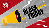 Black friday sale banner, poster, template, layout. Day with biggest sale discounts in stores, shops, boutiques. Vector illustration for website, web page, landing page, mobile app and advertising
