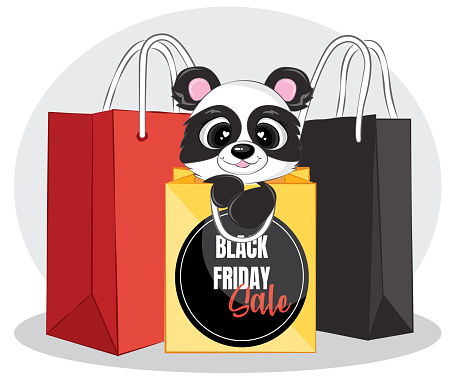 Black friday sale banner with black panda and shopping bag