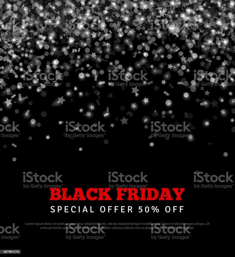 Black Friday Sale Banner with Confetti. - ilustração de arte em vetor
