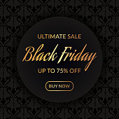 Black friday sale. Discount web banner with elegant vintage background and gold promo text. Vector template.