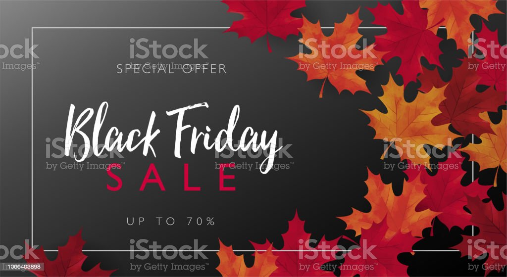 Black Friday sale banner with frame and maple leaves. Vector illustration template. Black Friday sale banner, Vector illustration template for for sale promotion, banner, poster, flyer, leaflet, web banner, social media and graphic use. Advertisement stock vector