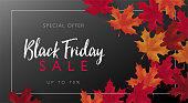 Black Friday sale banner with frame and maple leaves. Vector illustration template.